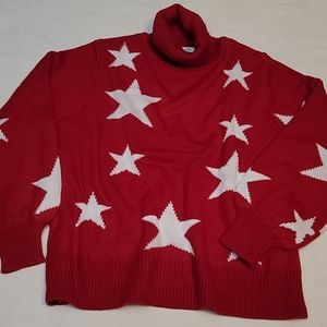 Zenana sweater turtleneck knitted red white stars